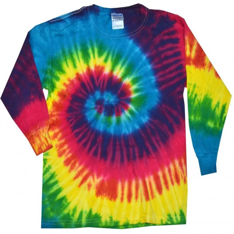 Reactive Rainbow Tie Dye Long Sleeve T Shirt Tie Dye Space