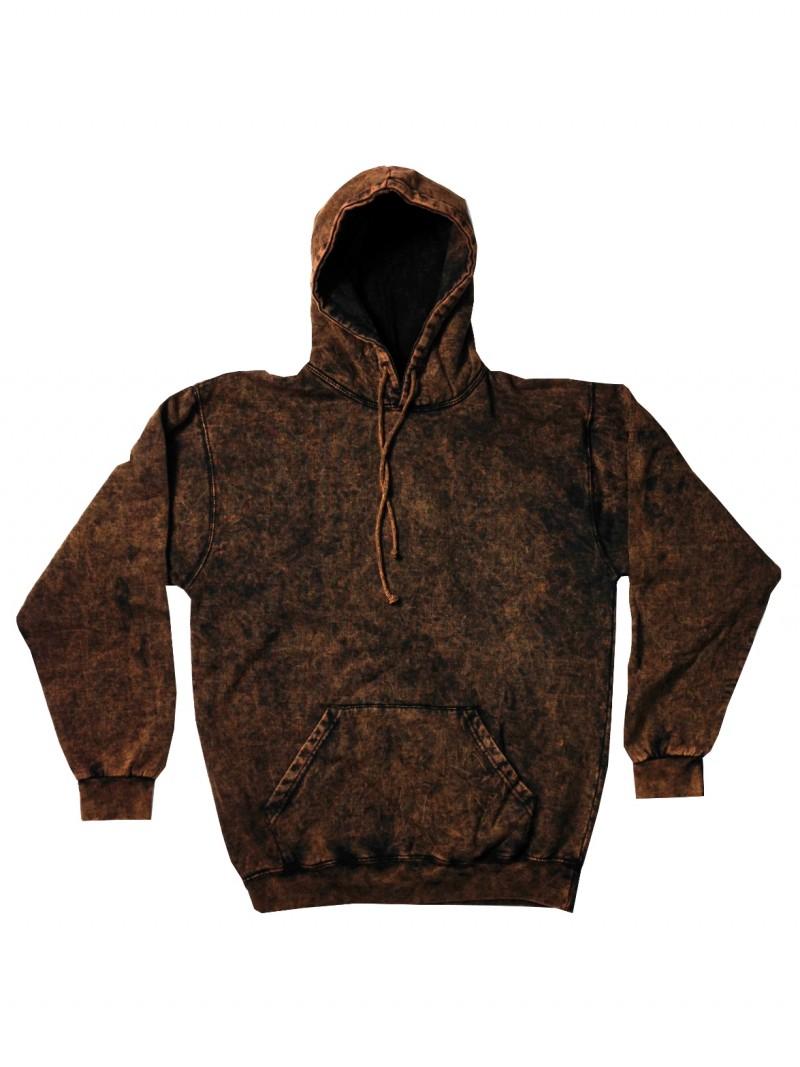 Brown Vintage Mineral Wash Pull Over Hoodie Sweatshirt